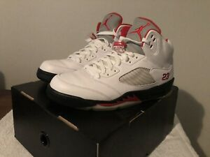 the latest 9e250 39008 Image is loading Air-Jordan-5-White-Fire-Red-Black-Count-
