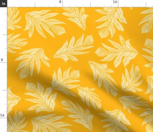 Orange Breadfruit Leaves Hawaiian Fruit Canoe Fabric Printed by Spoonflower BTY