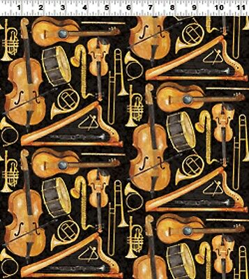 Clothworks Maestro by Barb Tourtillote Y1401 3 LARGE TOSSED INSTRUMENTS BLACK