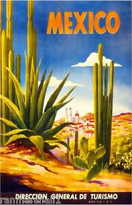 Mexico-Scenic-Mexican-Spanish-Vintage-Travel-Advertisement-Art-Poster