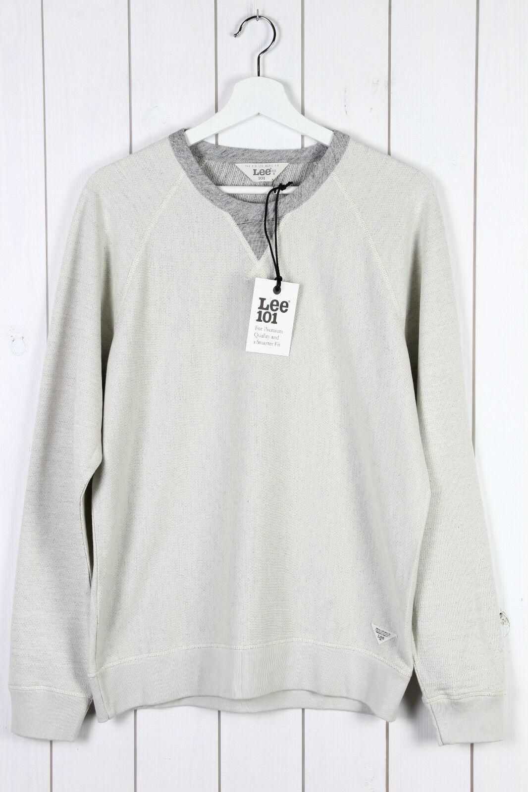 Neu Lee 101 Rundhals Sweatshirt Pulli Langarm Ecru / GRAU / M/L/XL/XXL