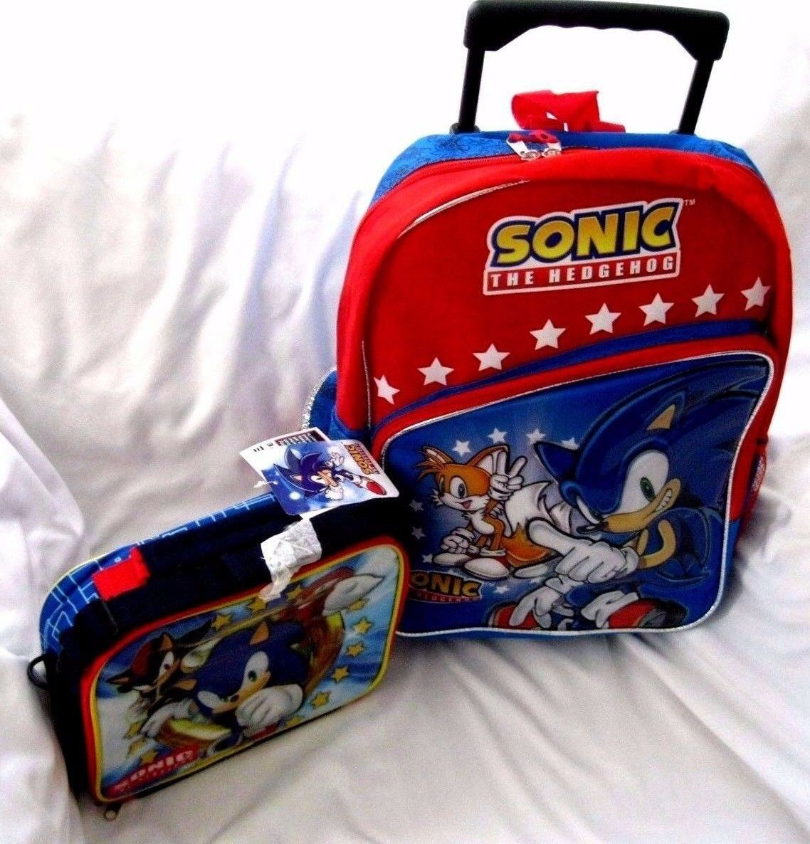 Sonic the Hedgehog rot 16  Rolling Backpack + Sonic & Friends Lunchbox Set-New
