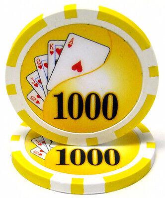 """25ct Orange $10000 10k Ten Thousand Dollar /""""Hi Roller/"""" 14g Poker Chips Laser Gfx"""