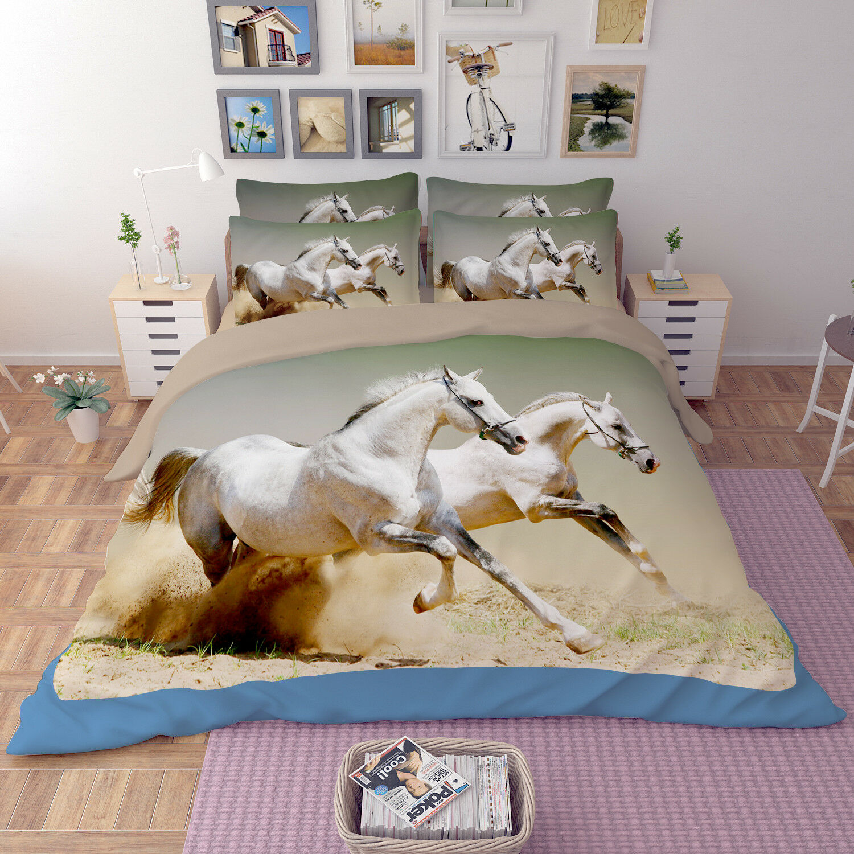 3D White Horse 26 Bed Pillowcases Quilt Duvet Single Queen King US Summer