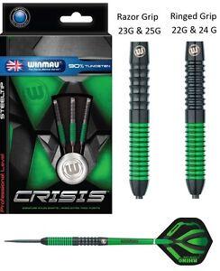Winmau-Crisis-90-Tungsten-Green-and-Black-Steel-Tip-Darts-22-23-24-25-Gram