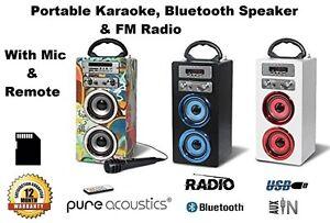 Pure-Acoustics-Portable-Karaoke-With-Mic-Bluetooth-Speaker-FM-Radio-SD-Card-USB