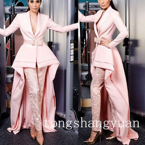 Newest-Lace-Pink-Suits-Pants-Long-Train-High-Low-V-Neck-Evening-Cocktail-Dress