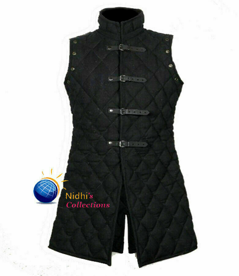 Halloween Medieval Gambeson Costume Black Thick Padded Sleeves Less Jacket