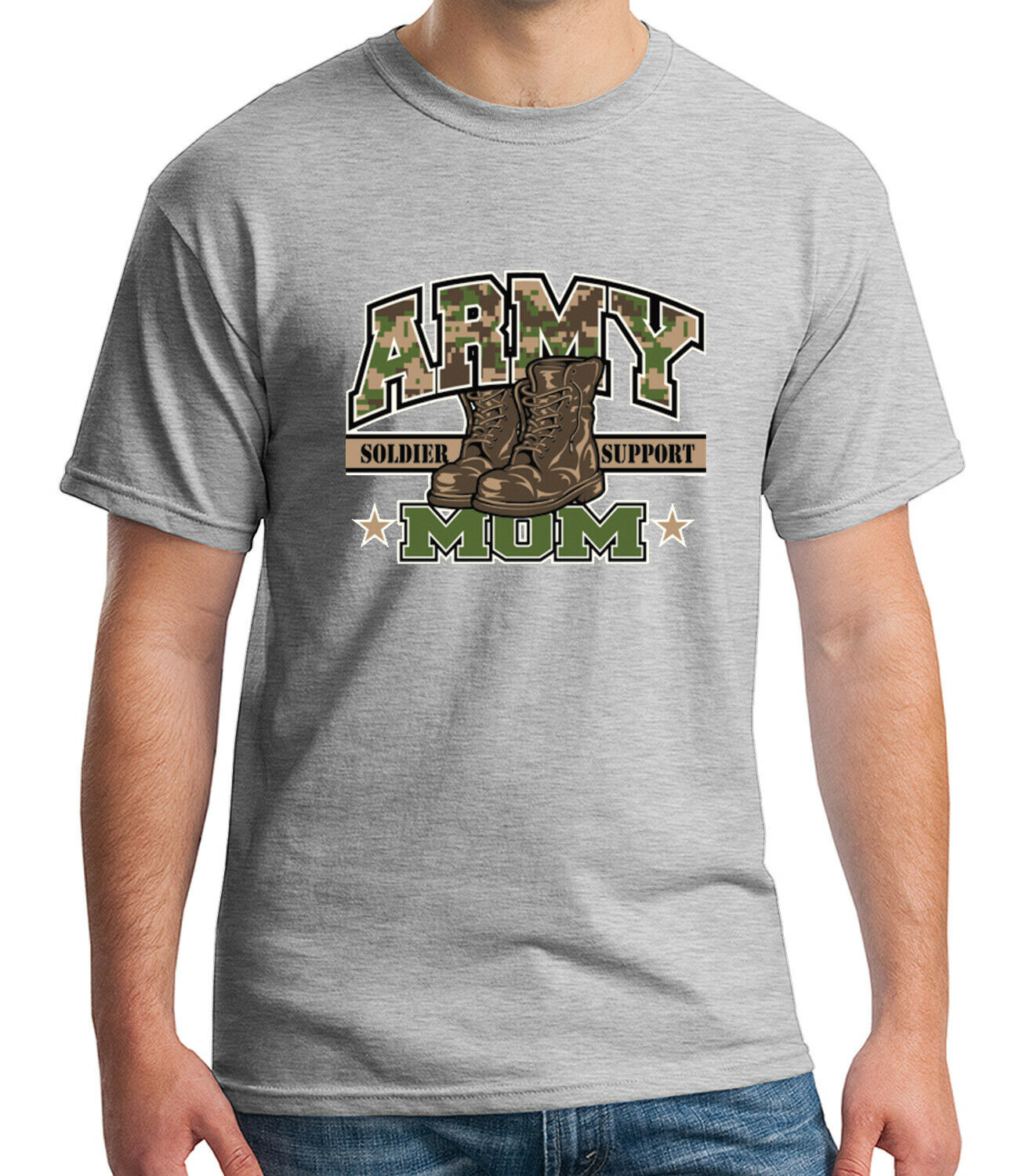1483C Camo Army MOM Boots Adult/'s T-shirt Soldier Support Tee for Men