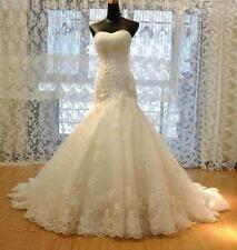 Mermaid White/Ivory Wedding Dress Bridal Dress Gown Size4  6 8 10 12 14 16 18 AE