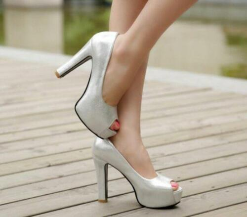 Court Toe Platform hakken schoenen Plus Size hoge Pumps Dating Womens Peep Prom Lady PXuTOiZk