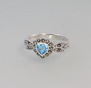 9927577-925er-Silber-Blautopas-Markasiten-Ring-Herz-Gr-56