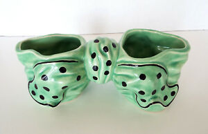 Double-Planter-Ceramic-Vase-Vintage-Green-Bow-Polka-Dots-Mid-Century-Modern