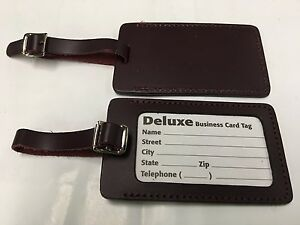 Currys leather large luggage id tag lot of 2 business card size image is loading curry 039 s leather large luggage id tag reheart Image collections