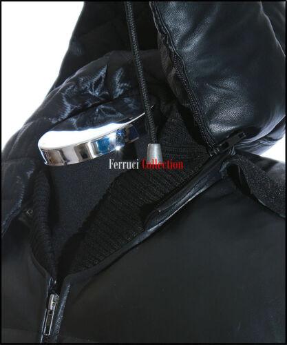 PILOT 6 Nero Palla da Uomo Nuovo Bomber con Cappuccio Invernale Pelle Di Agnello Reale Giacca in Pelle