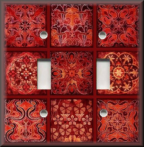 Metal Light Switch Plate Cover - Tuscan Tile Mosaic - Red - Home Decor