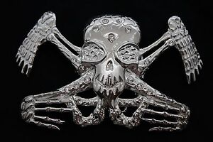 Men Women Silver Metal Belt Buckle Skull Skeleton William Walles on Board Biker