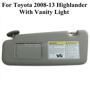 Left Gray Sun Visor For Toyota 2008-13 Highlander W//Vanity Light 74320-48500-B0