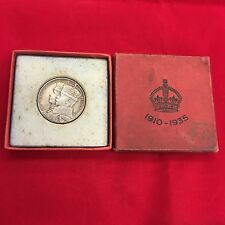 1910-1935 Jubilee George V Queen Mary Silver Medal 33mm Stet Fortuna Domus Cased