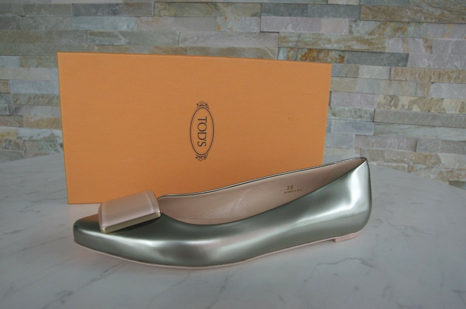 Genuine TODS TOD'S Size 39,5 Low shoes Ballerinas shoes Platinum NEW formerly RRP 398