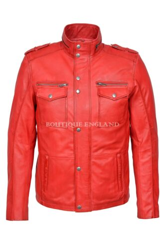 Men/'s Vintage Fashion Jacket RED Biker Style 100/% Leather 5540