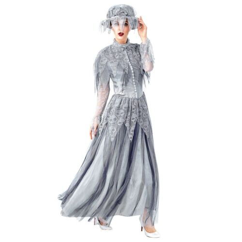 Women Cloth Halloween Cosplay Long Dress Vintage Style Ghost Bride Gothic Dress