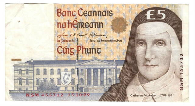IRELAND ÉIRE 5 Punt VF Banknote (1999) P-75b Paper Money NSM Prefix