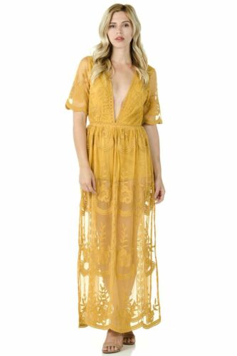 Sohcue Long Lace V-neck Embroidered Maxi Dress