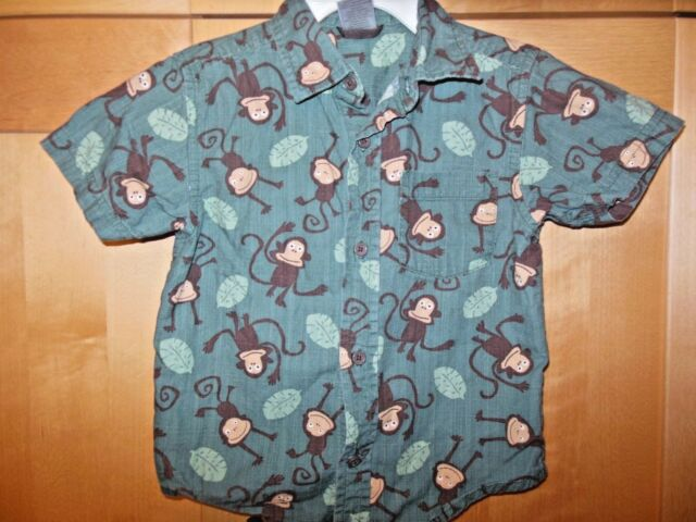 Gymboree Toddler Boy Green Monkey Jungle 100% Cotton Button Front Shirt 2T