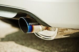 Megan-Racing-Universal-M-VO-Muffler-Silver-Chrome-finish-with-rolled-blue-tip