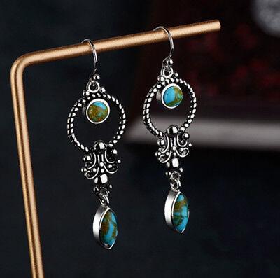 1 Paire Boho Argent 925 Turquoise Gemstone Drop Dangle Crochet Boucles D/'oreilles Bijoux