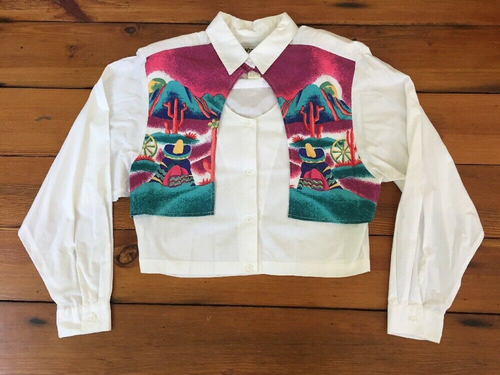 Vintage Wrangler Southwestern Desert Mountain Sunset Western Crop Top Shirt L 41