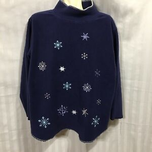 Image is loading Ugly-Christmas-Top-Sweater-Snowflakes-Winter-Womens-Large- db97299c8