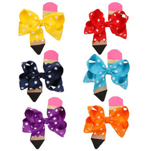2pc-4-5-Girls-Pencil-Print-Back-to-School-Hair-Bows-with-Clips-Hair-Accessories