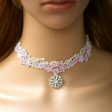Chocker bianco rosa Gotico A punta Collier Collare Victorian Barocco Fiori