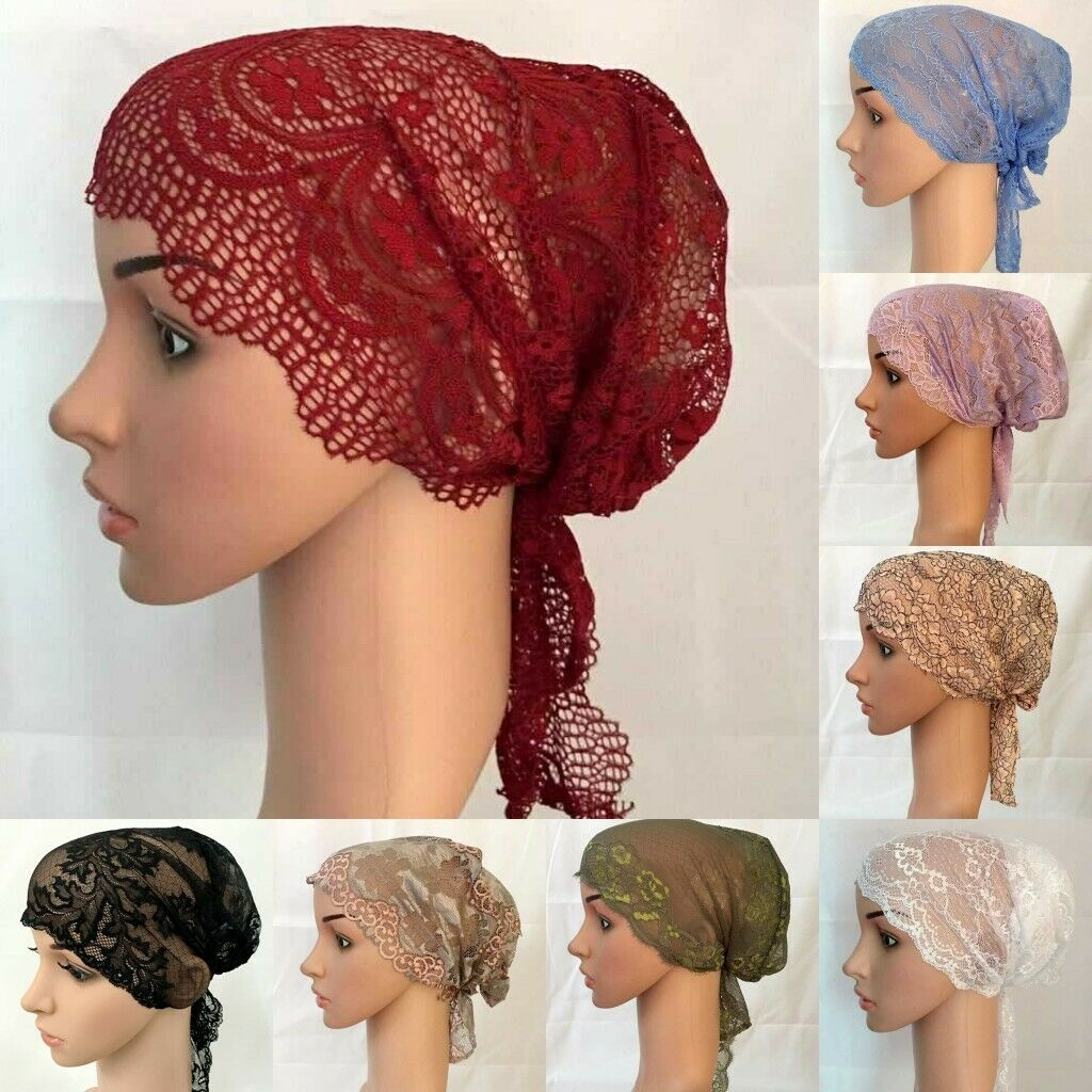 Fashion Women Muslim Islamic Arab Lace Openwork Flower Chemo Hair Loss Cap Hat