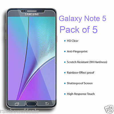 5 Pieces Ultra Clear Transparent Film Screen Protector For Samsung Galaxy Note 5