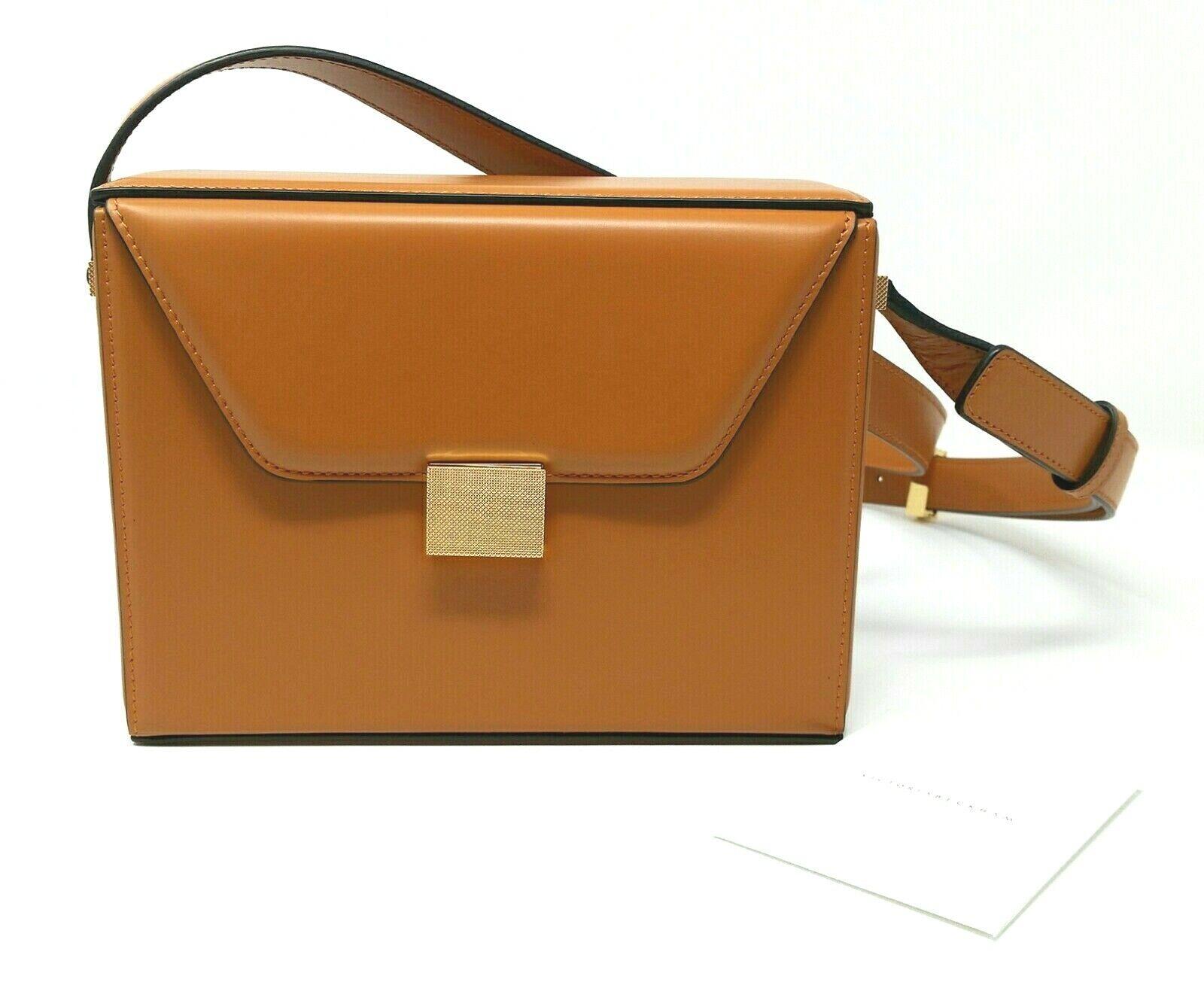 NWT Victoria Beckham Runway Vanity Box Camel Calf Leather Crossbody Bag