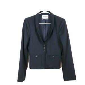 YVES SAINT LAURENT Rive Gauche Size 44 Black 4 Button Depp V Wool Blend Blazer