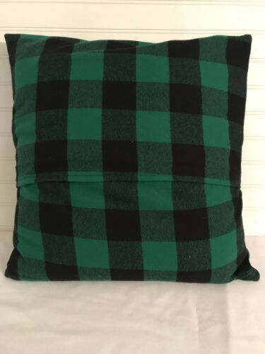Green and Black Buffalo Plaid Christmas 16 x 16 Flannel Pillow Cover