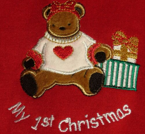 Scooters Baby Girls My 1st Christmas 2pc Outfit Faux Fur Trim Teddy Bear Santa