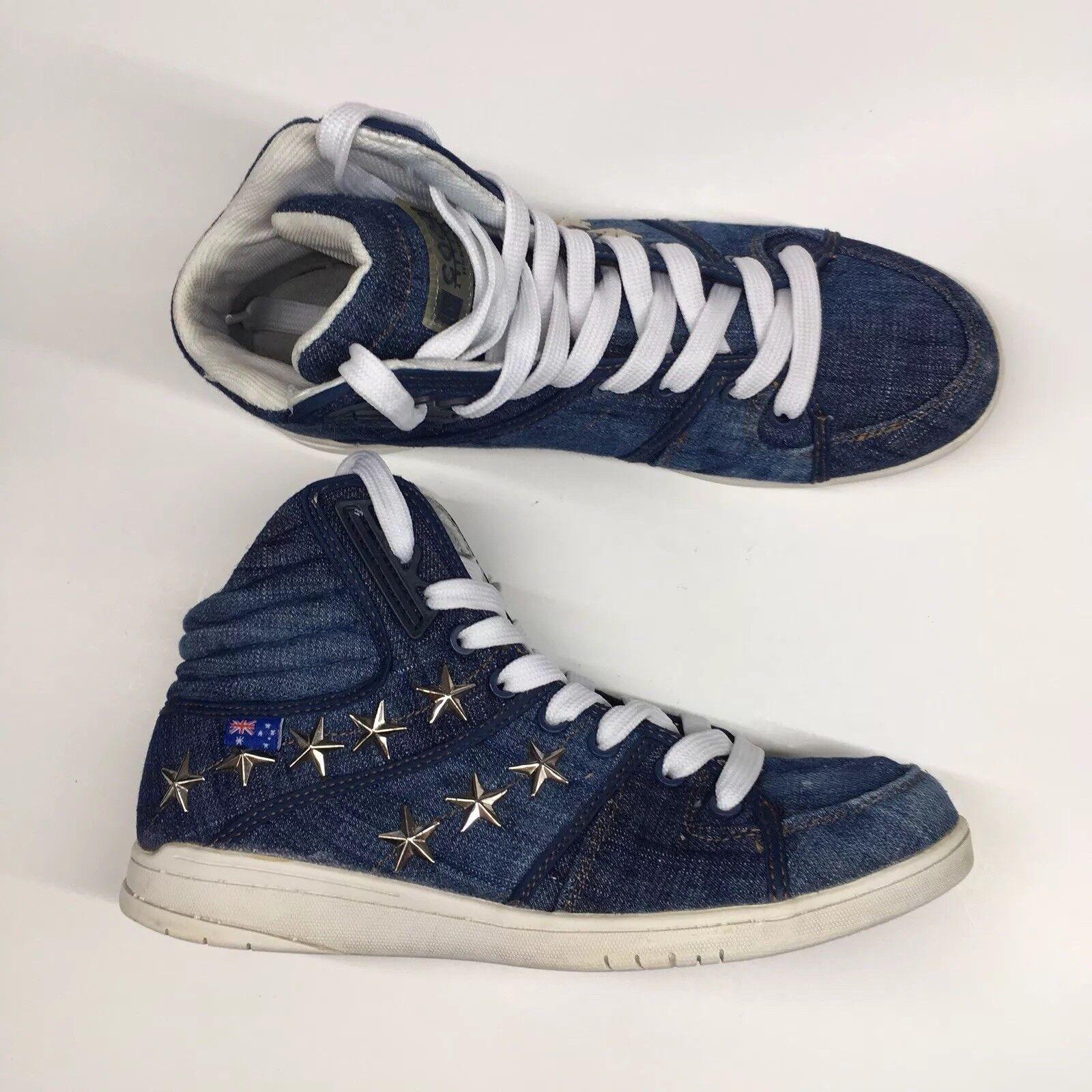 COOGI Men Sz 8.5 Denim Stars Australian Flag Hi Top shoes Sneakers Style CMS431