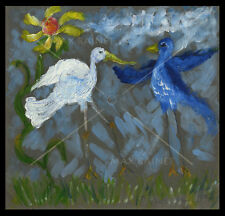 Birds in the Sun Dancing Sunflower ORIGINAL OIL PAINTING whimsical Art PETERSOn