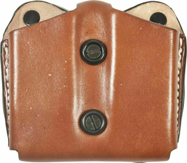 DeSantis A01 Double Magazine Pouch Tan Leather Ambi for Single Stack 45 for sale online