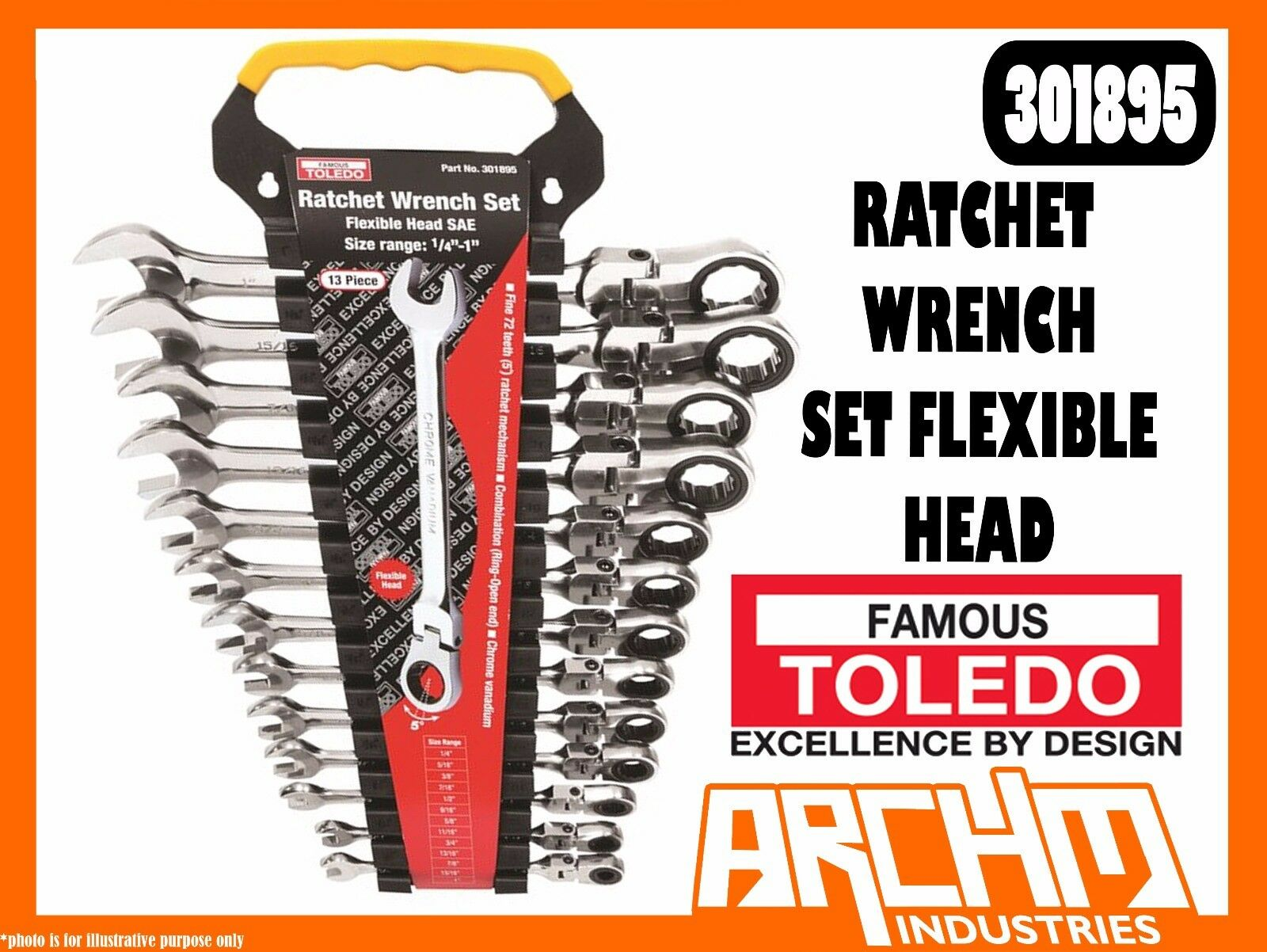 TOLEDO 301895 - RATCHET WRENCH SET FLEXIBLE HEAD - SAE 13 PC 1 4 -1  RING OPEN