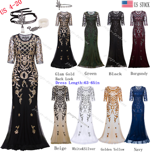 Mermaid Costume 1920s Flapper Gatsby Party Long Evening Maxi Cocktail Dress Gown