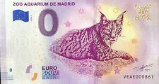 BILLET 0 ZERO EURO SOUVENIR TOURISTIQUE ZOO AQUARIUM DE MADRID 2018-2