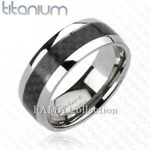 Engraved Titanium Men/'s Black Graphite Carbon Fiber w// CZ Band Ring