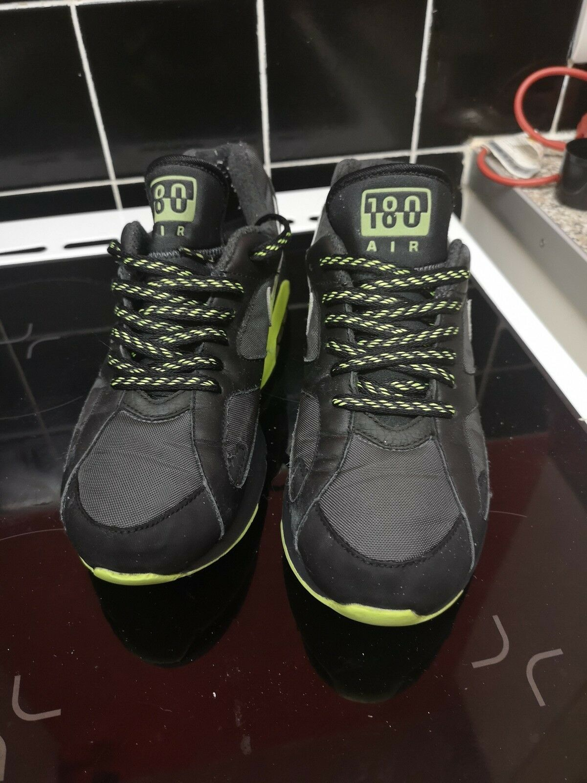 NIKE AIR 180 Noir/Volt RARE UK taille 9 STRUCTURE MAX 1 90 LIVESTRONG AQUAMARINE