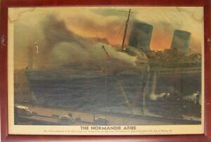 Photograph-Harry-Warnecke-amp-Robert-F-Crantson-The-Normandie-Afire-1942-Framed